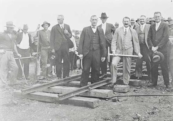 Historical - Minister laying the first rail -
